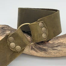 Load image into Gallery viewer, Brass Ring Buckle Olive Belt