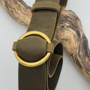 Brass Ring Buckle Olive Belt