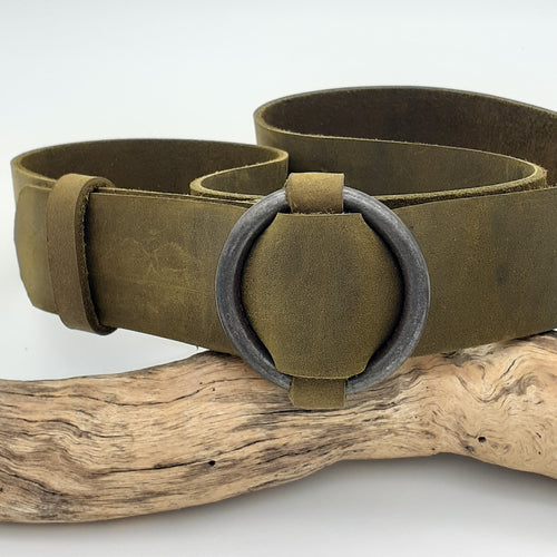 Steel Ring Buckle Olive Belt