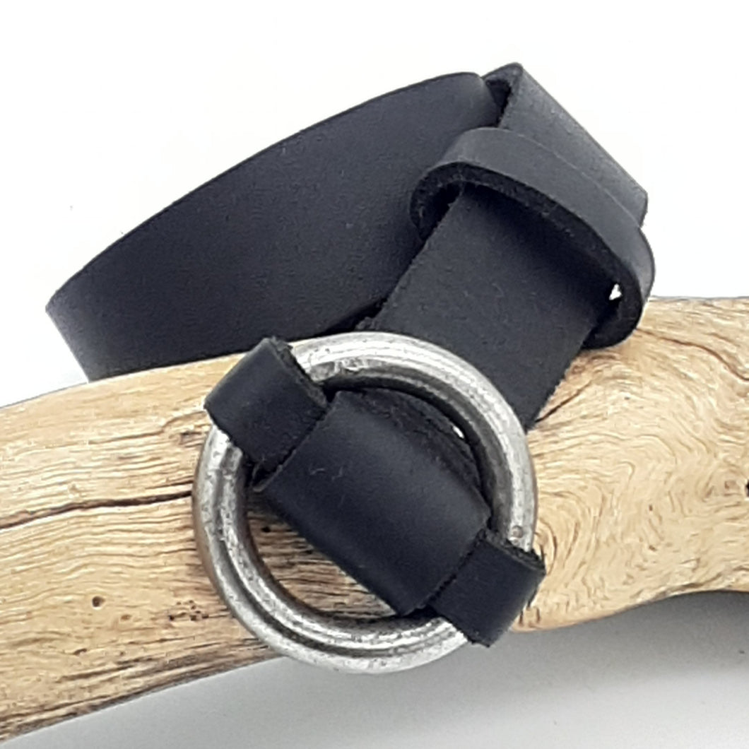 Steel Ring Buckle Black Belt
