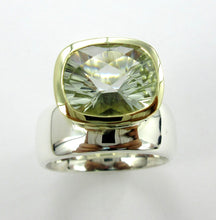 Load image into Gallery viewer, Green Amethyst 2-tone Ring Ai288