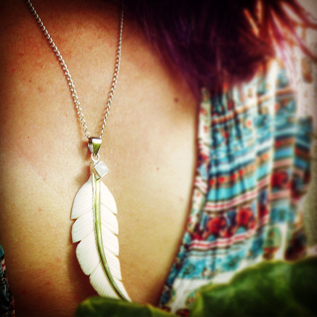 Moon Stone Feather Pendant