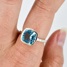 Load image into Gallery viewer, Blue Topaz Cushion Ring Ai207