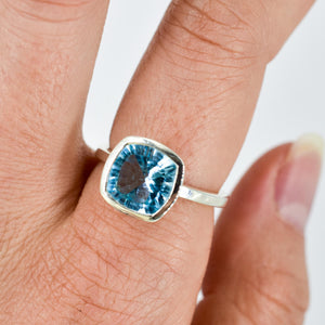 Blue Topaz Cushion Ring Ai207