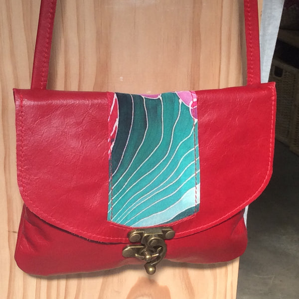 Leather Bag with Silk Inset