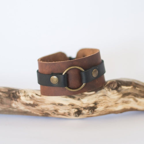 Leather Iron Ring Cuff