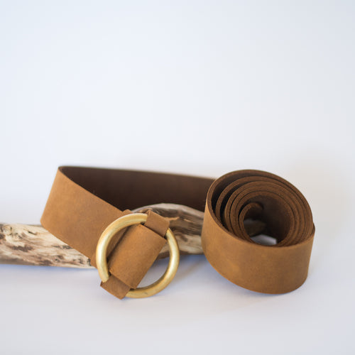 Brass Ring Buckle Tan Belt