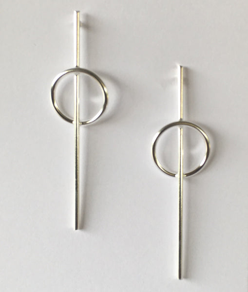 stud earring made of silver wire stick with a 15mm diameter circle ,long earring 55mm sterling silver