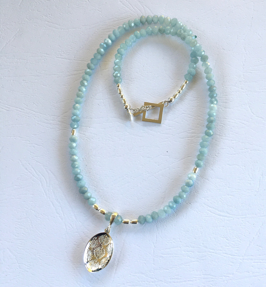 Aquamarine Pattern Leaf Necklace Ai160N