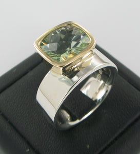 Green Amethyst 2-tone Ring Ai288