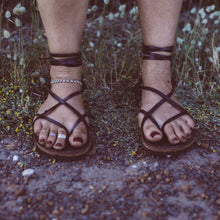 Load image into Gallery viewer, Leather Strappy Roman Sandals