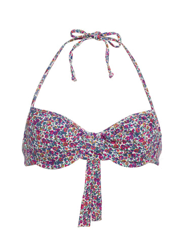 Halter Bra in Floral Cotton