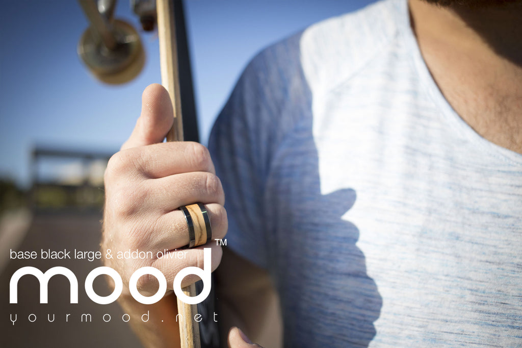 mood ring men black wood