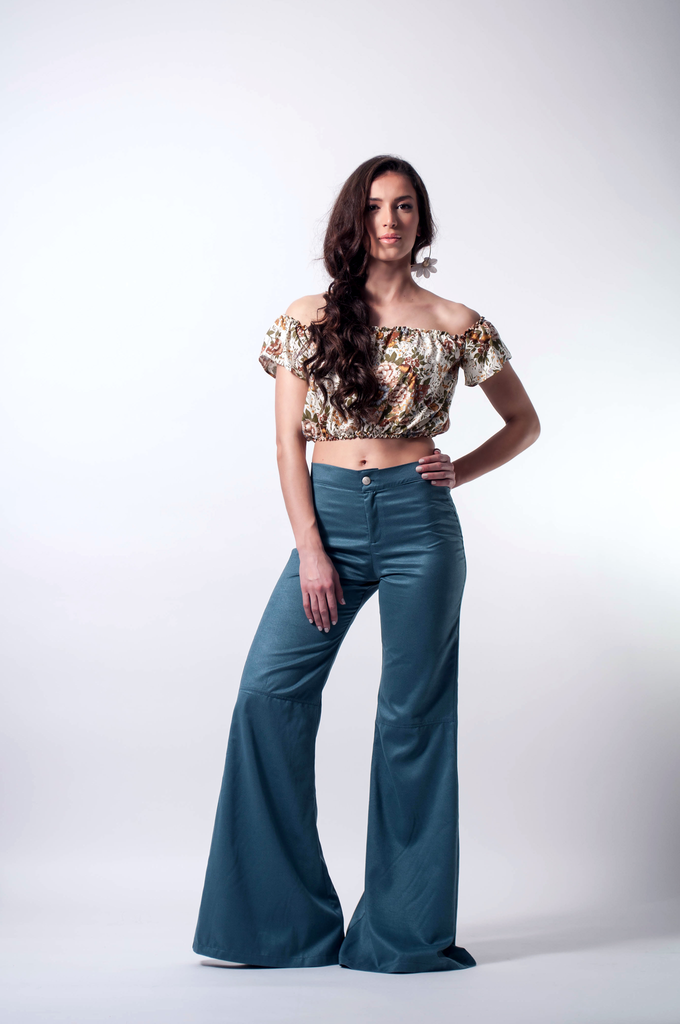 Bell Bottoms Suede Petrol Front