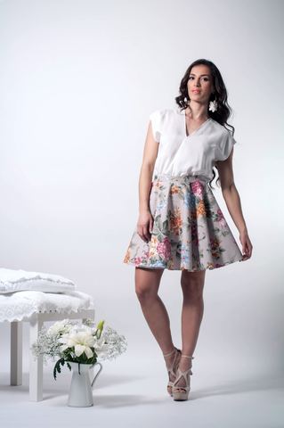 Crossover floral dress front
