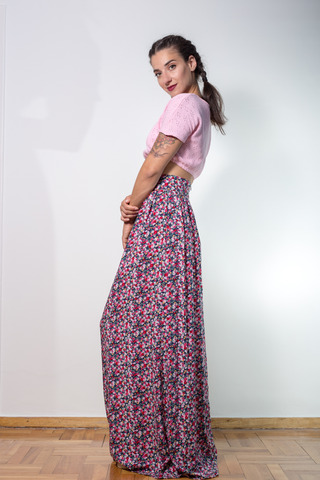 maxi floral skirt side