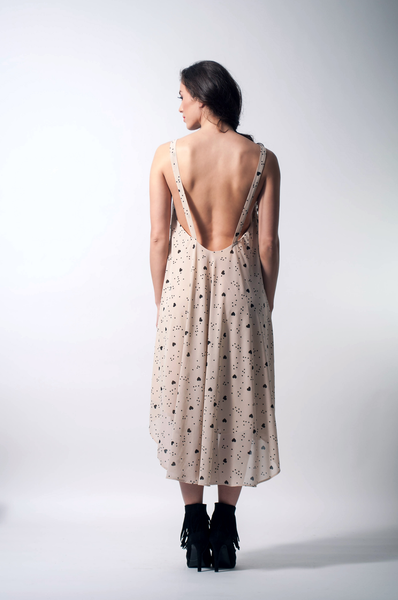 open back chiffon dress back