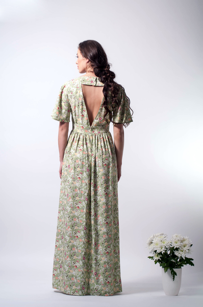 open back maxi floral dress back