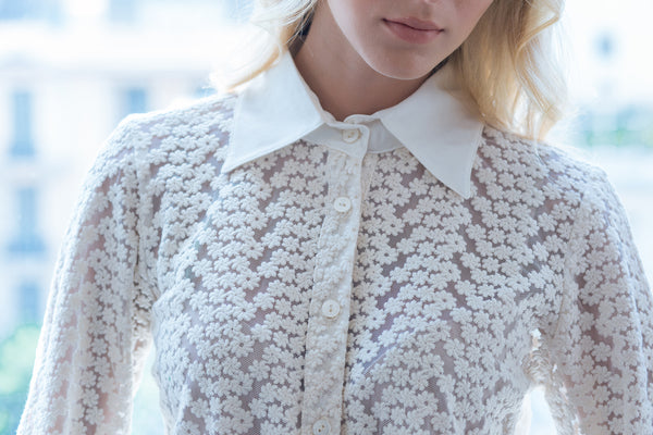 button down lace shirt