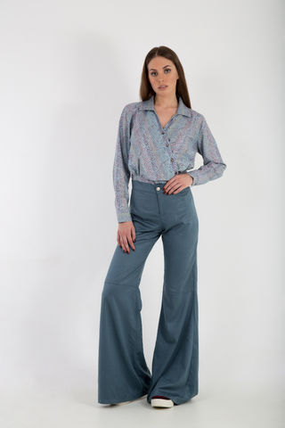 Bell Bottoms Suede Petrol