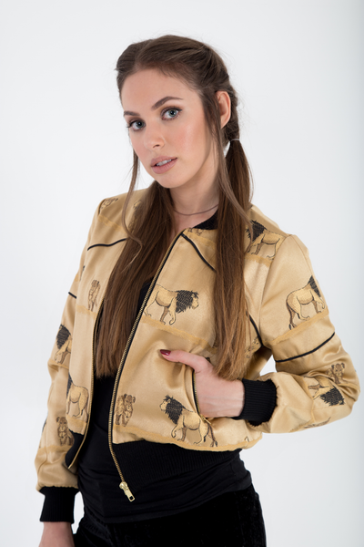 Bomber jacket satin brocade front