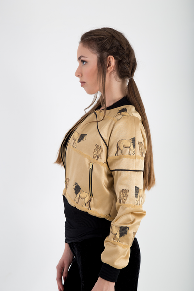 Bomber jacket satin brocade side