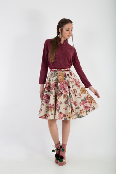 Floral full circle skirt front