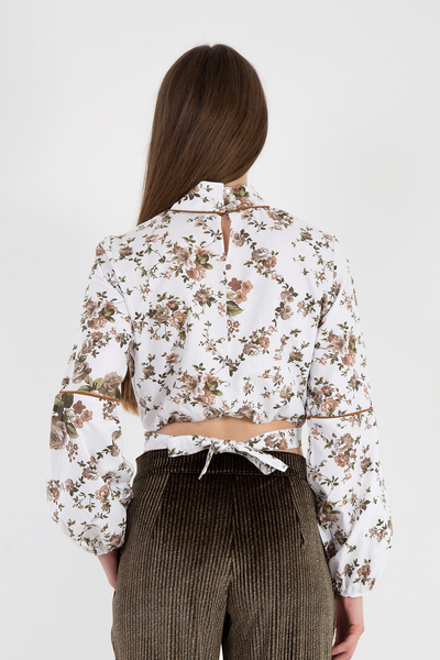 White long sleeve floral cotton crop blouse