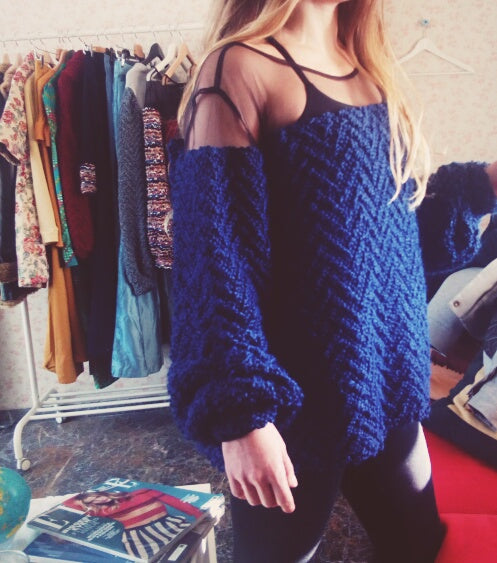 blue chunky sweater