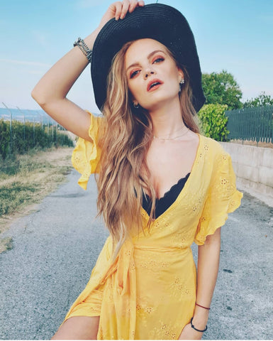 Embroidered Yellow Maxi Dress