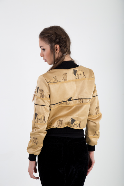 Bomber jacket satin brocade back