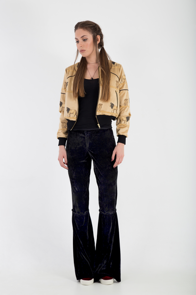 Bomber jacket satin brocade