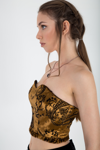 Brocade velvet strapless bustier side