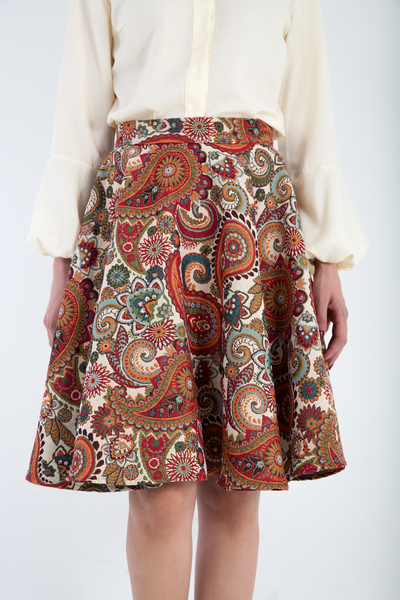 Brocade Full midi skirt close