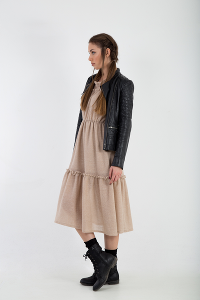 Knitted mohair lurex midi dress side