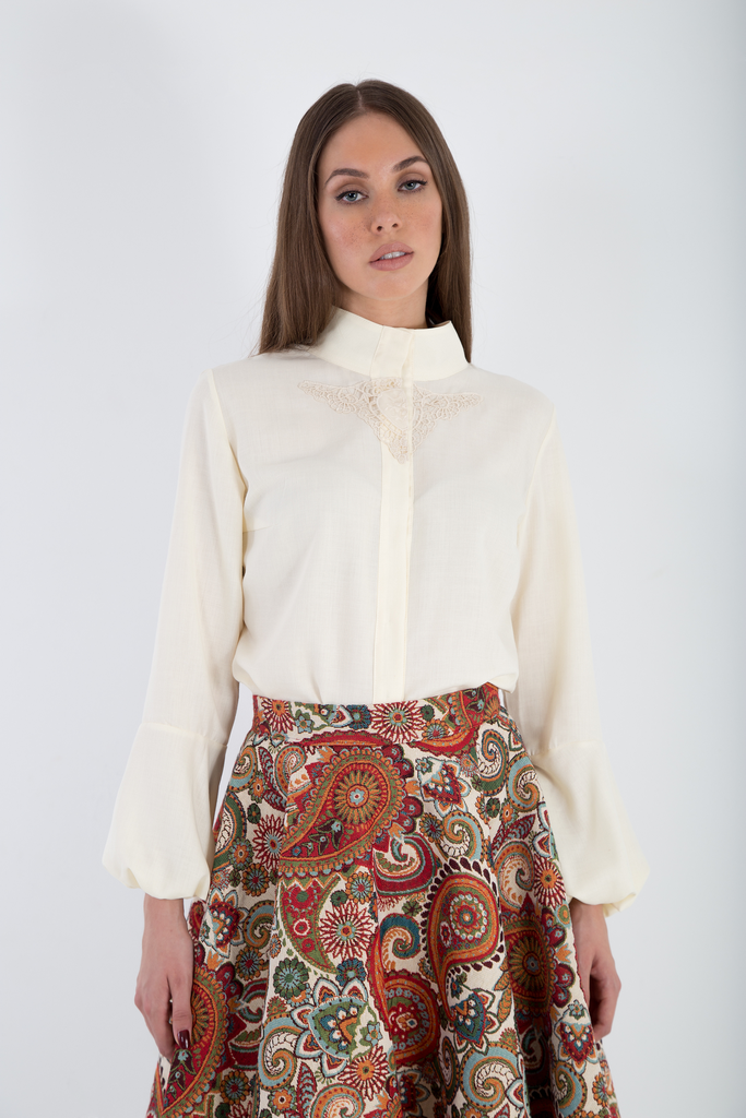 Bishop sleeves elegant cream shirt
