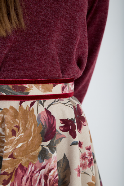 Floral full circle skirt detail