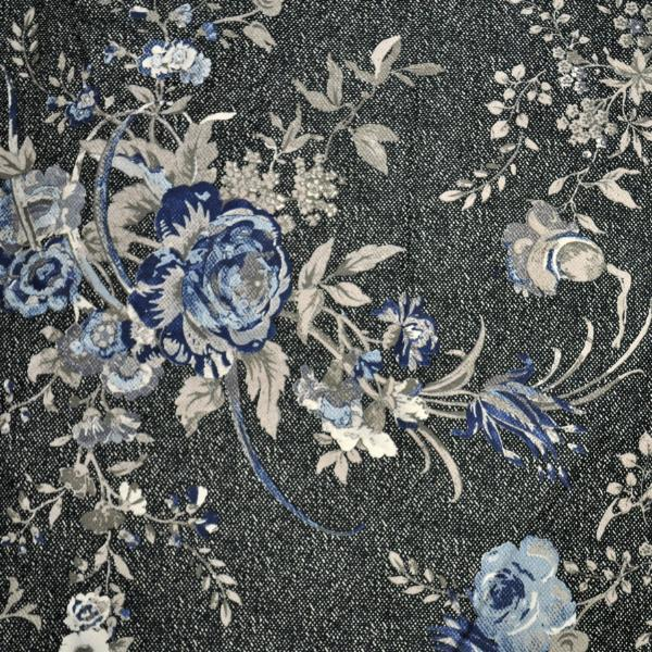 black and blue floral