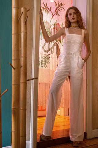 white summer jumpsuit