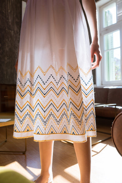 Embroidered White Midi Dress