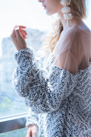 off shoulder wool top