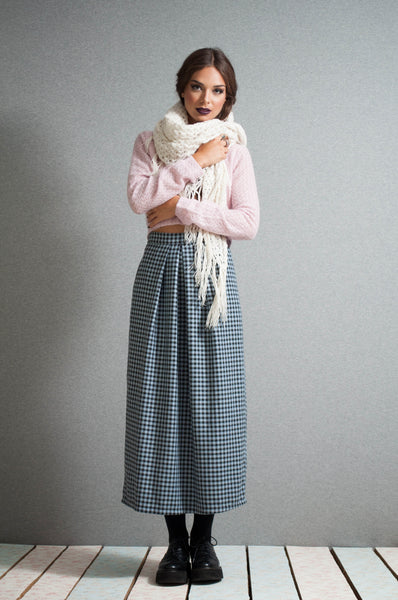 High waist checkered midi skirt
