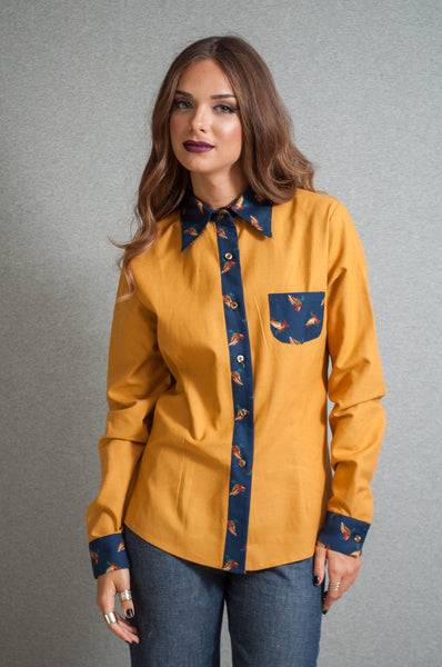 Mustard and geese shirt front