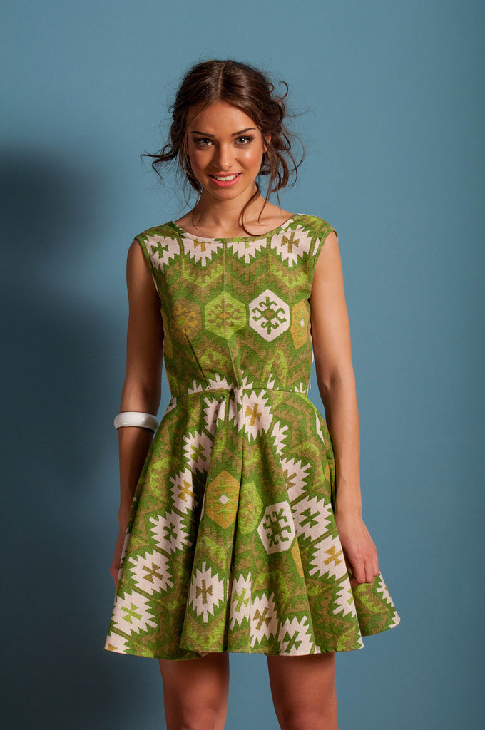 green aztec skater dress front