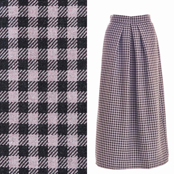 Checkerd midi wool skirt