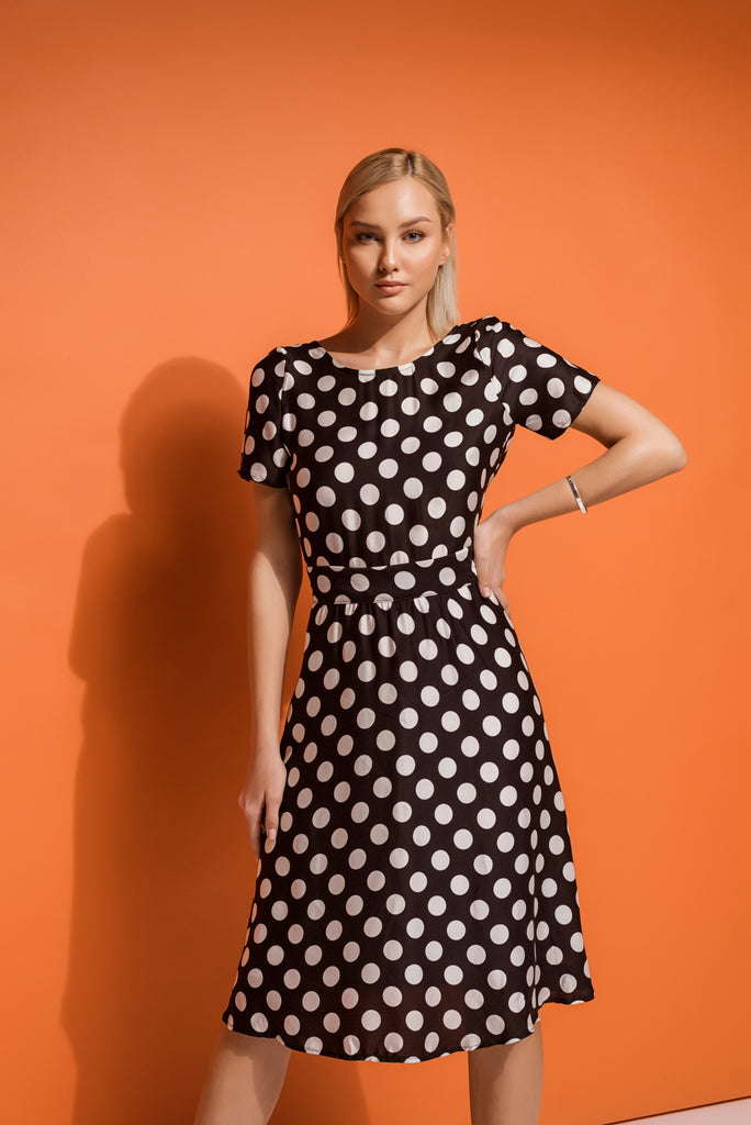 feminine summer dress in polka dot