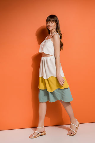 multicolor tiered skirt