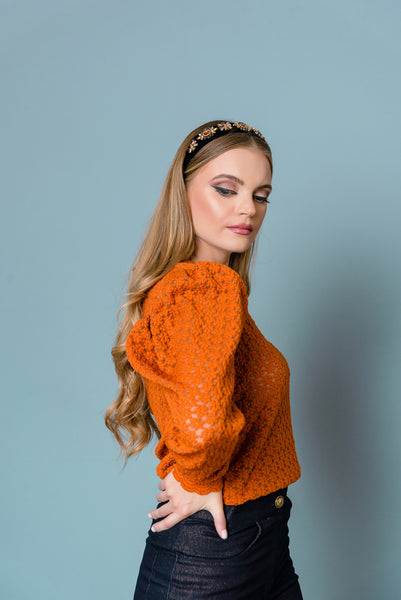 orange winter sweater