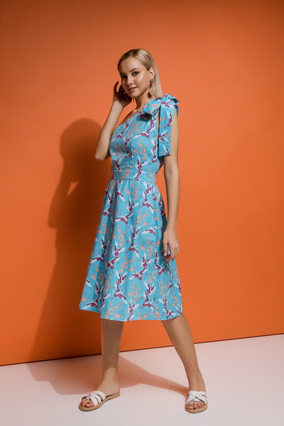 bird pattern dress