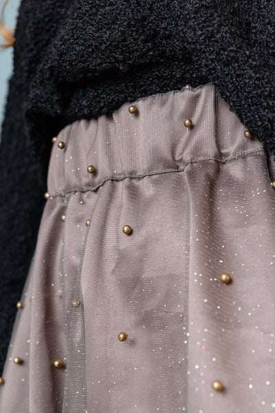 Midi Beaded Tulle Skirt